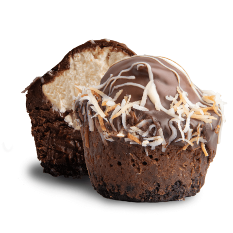 Cross-section view of a coconut fudge bomb