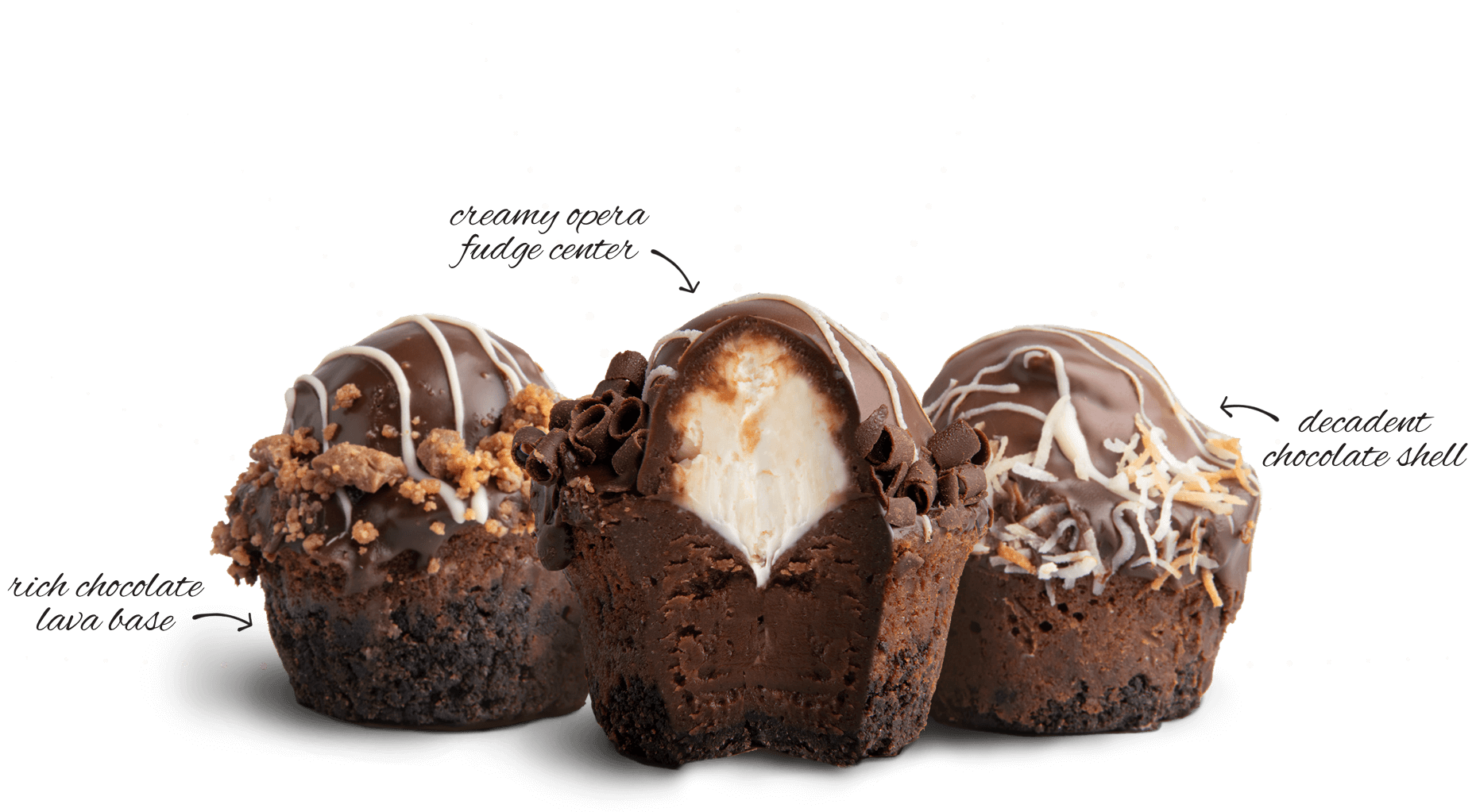 Photograph of fudge bombs showing the fudge brownie base, mousse-filled cream center, and a decadent chocolate shell.