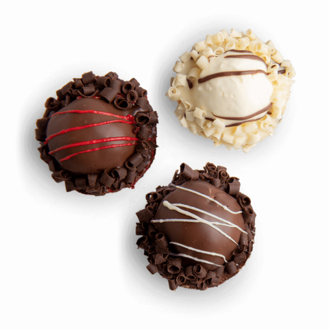A birds-eye view of three fudge bombs in various flavors